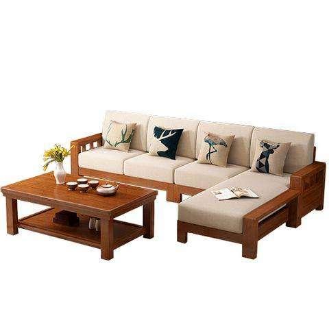 实木与布艺相结合沙发