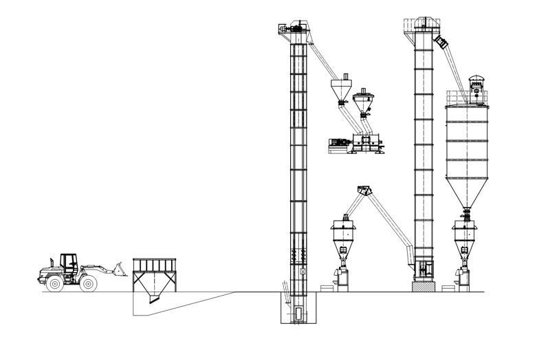 真空上料机输送工艺布置原理图