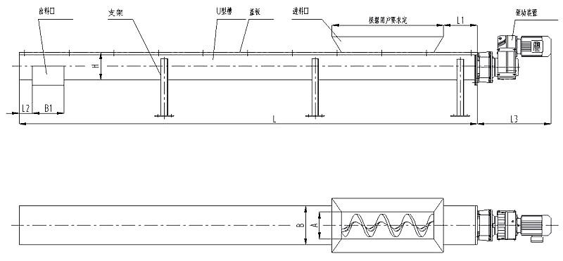 WLS无轴螺旋输送机侧视图