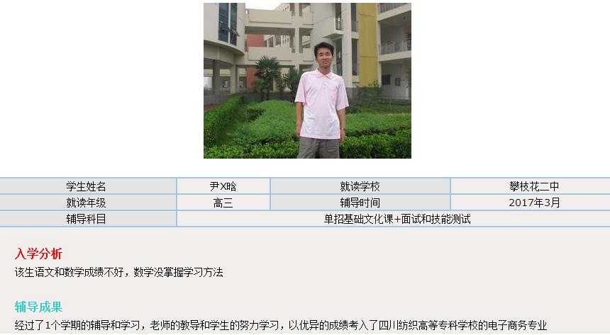 考入了四川纺织高等专科学校的电子商务专业