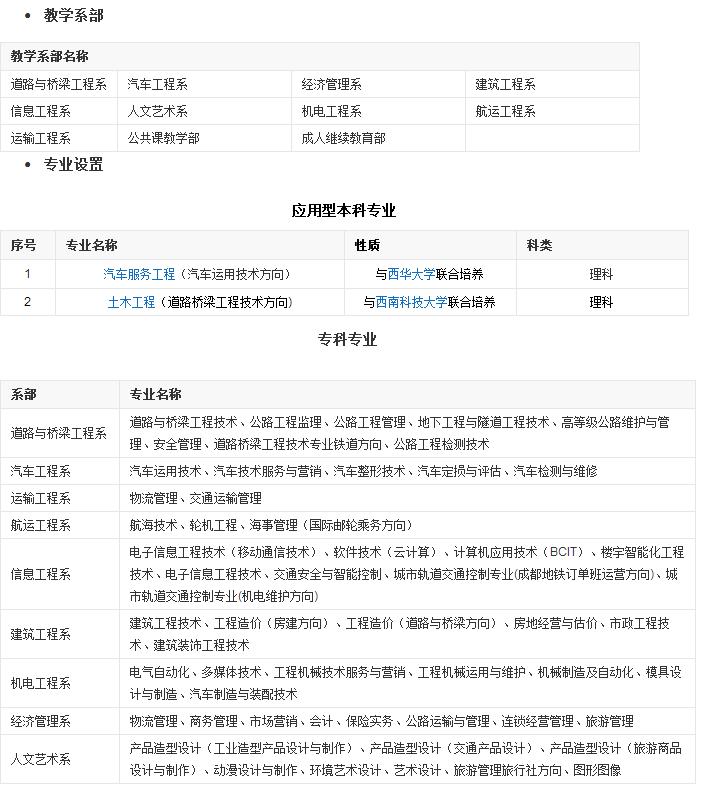 四川交通职业技术学院专业设置