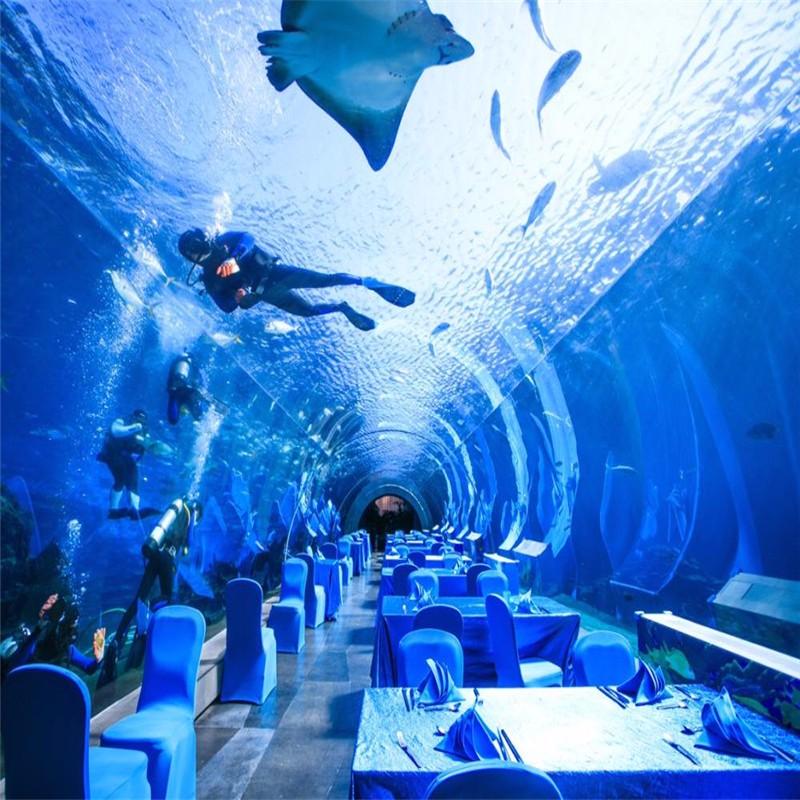 弧形海底餐厅,异形亚克力餐厅