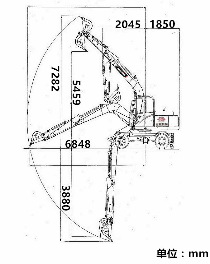 宝鼎轮式95挖掘机工作范围.jpg