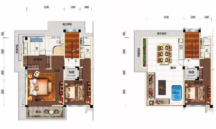 碧桂园润杨溪谷别墅坡地美墅p129建面241平米可使用面积450平米户型图