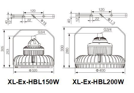 led防爆燈結構尺寸