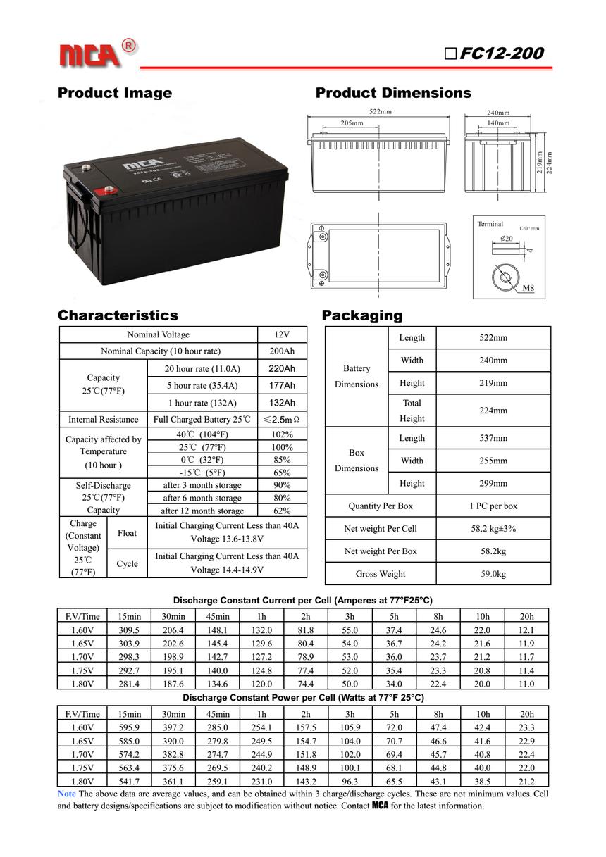 MCA蓄电池