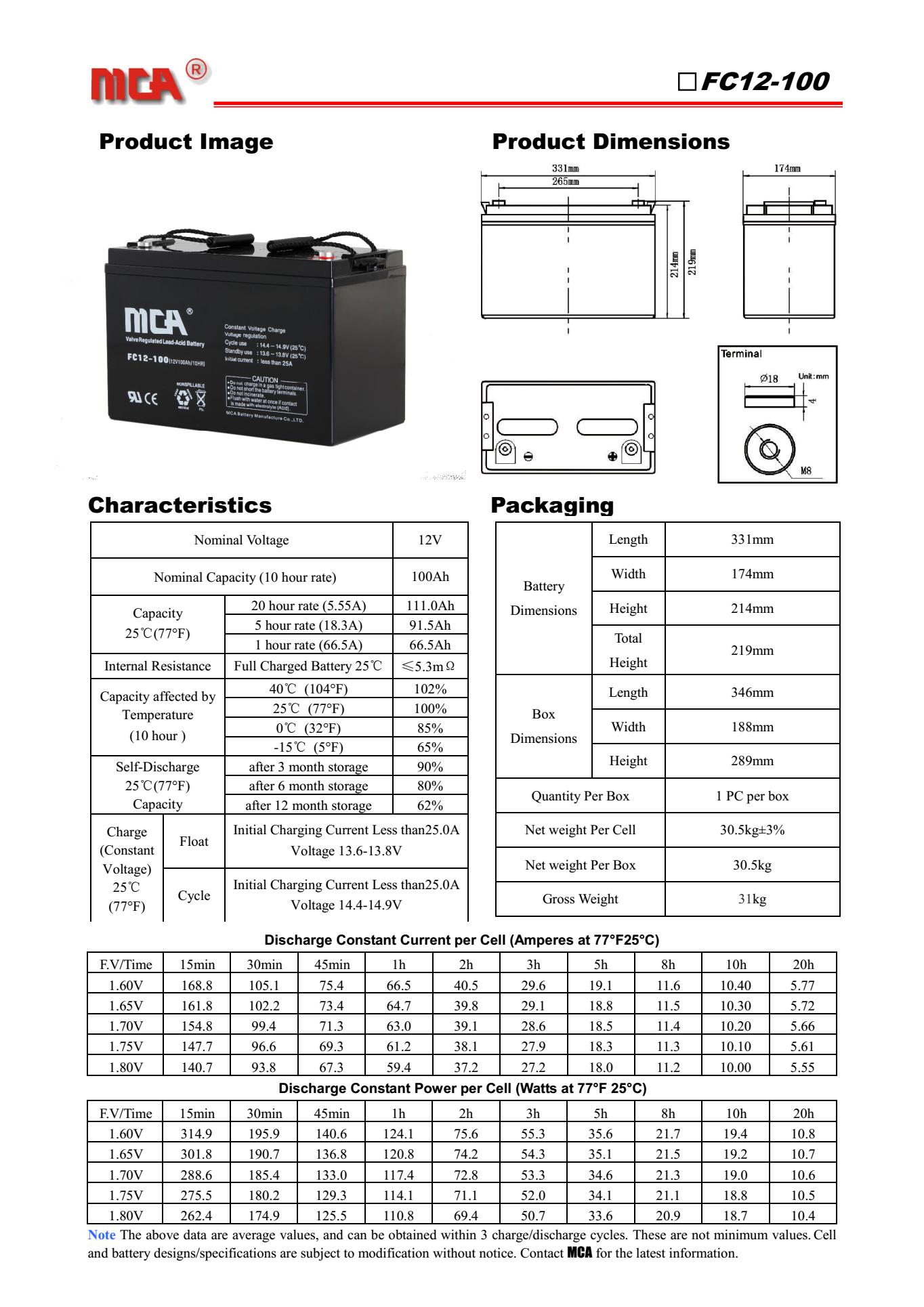 MCA蓄电池FC12-100