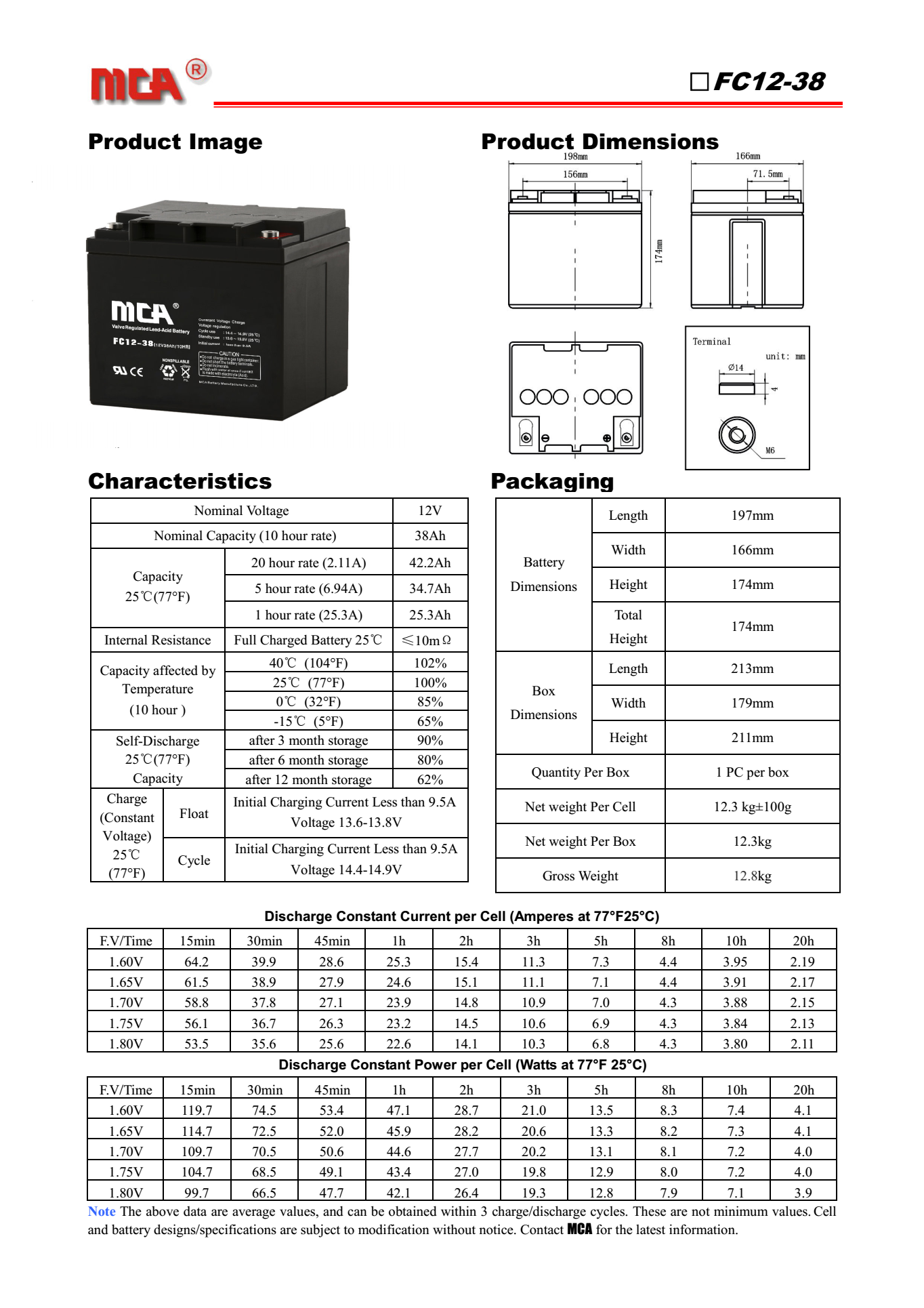 MCA蓄电池FC12-38