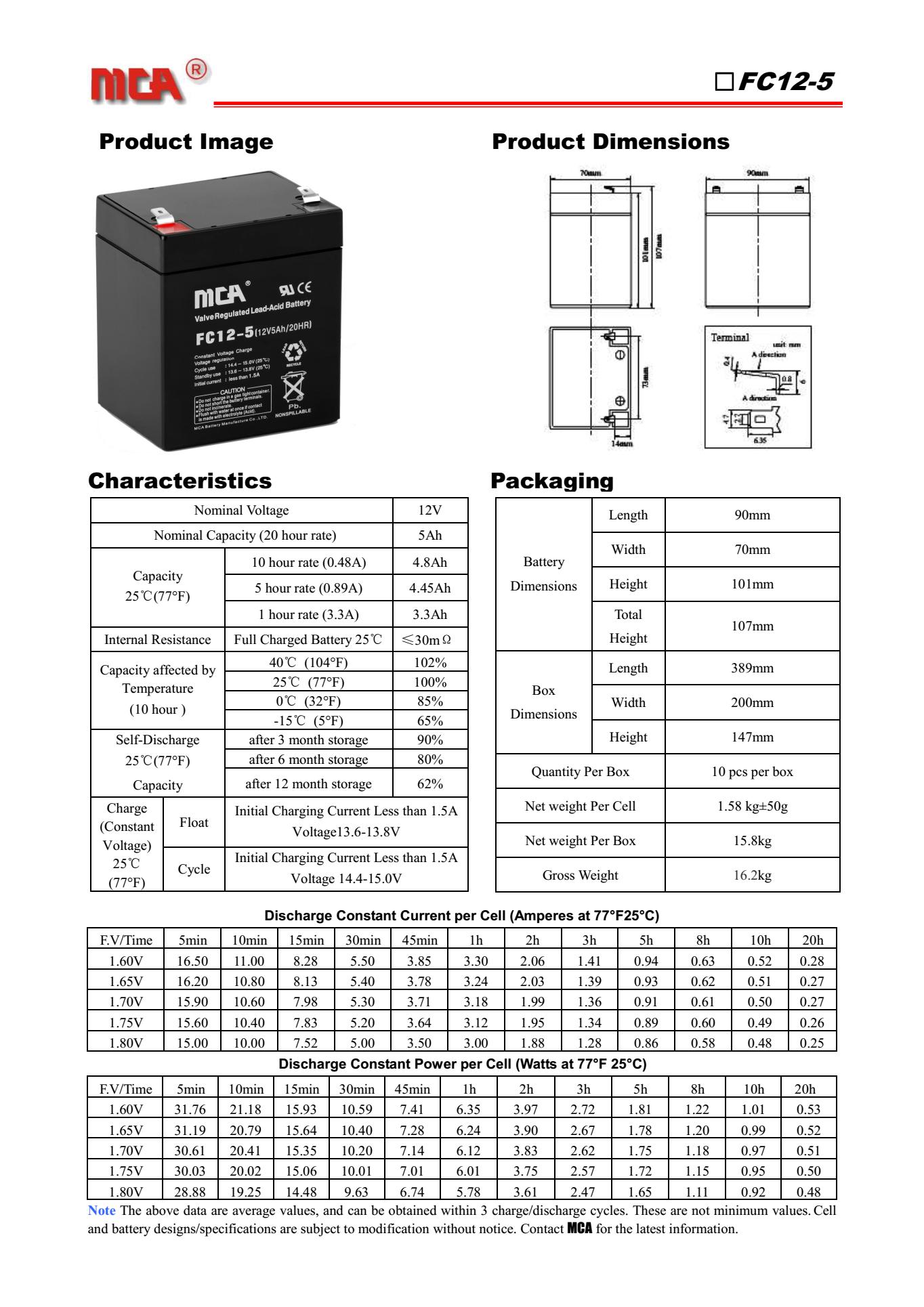 MCA蓄电池FC-5