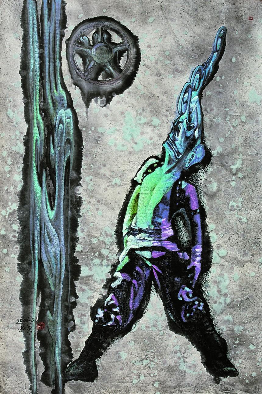 作者:郭蓉华,名称:《古蜀气质》,材料:纸本、丙烯,尺寸:100x150cm作于2008年.jpg
