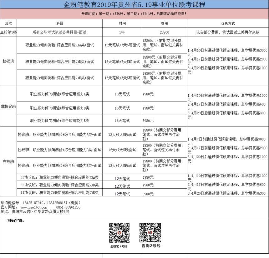2019年事业单位联考课程.png