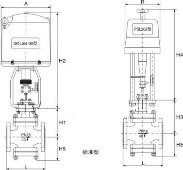 电动单座调节阀尺寸图