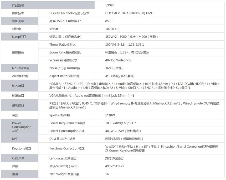 宝视来LX980高端工程投影机产品参数