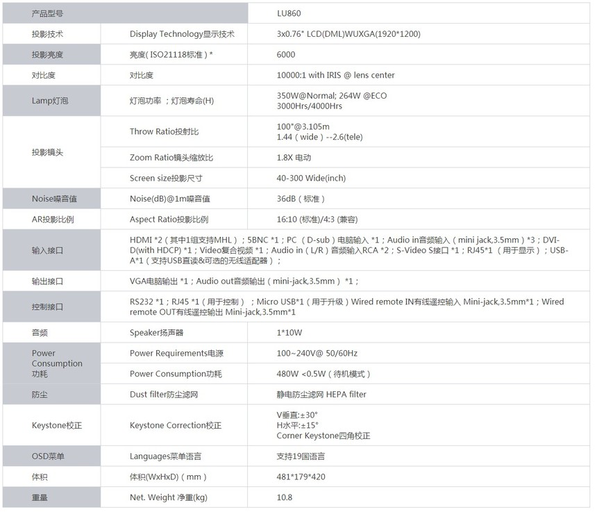 宝视来LU860液晶工程投影机产品参数
