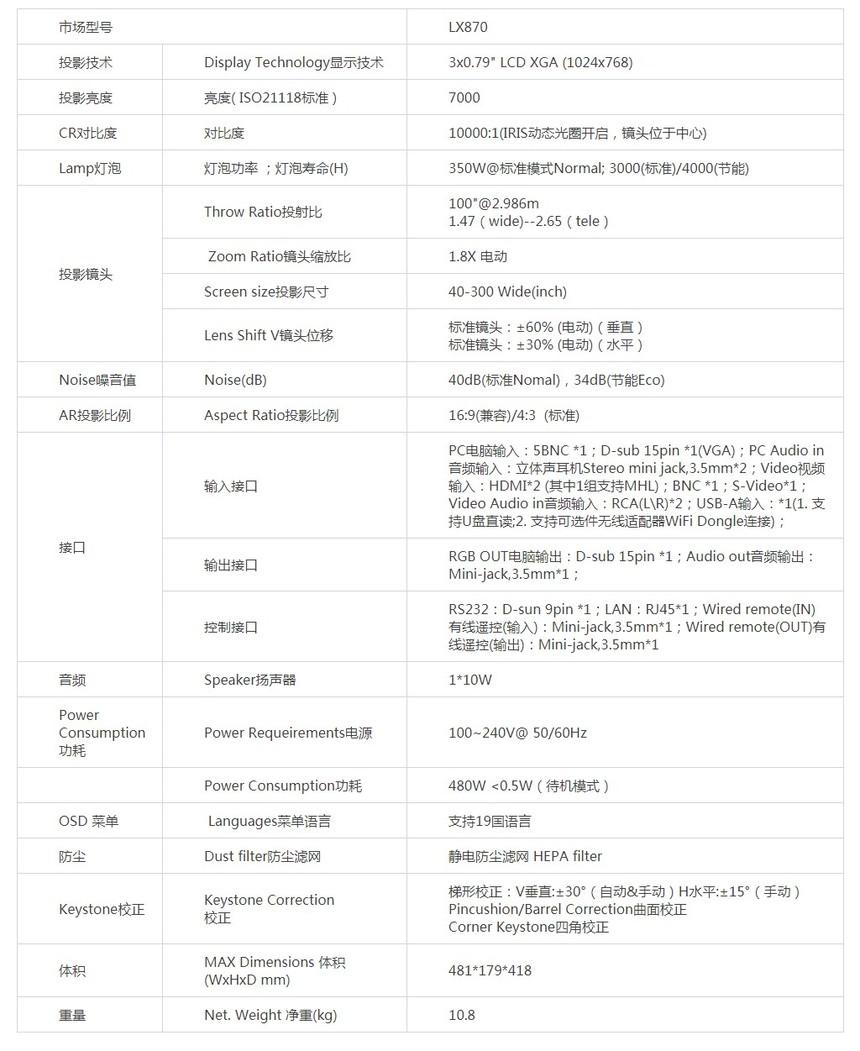 宝视来LX870液晶工程投影机产品参数
