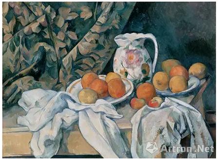 塞尚《壶和水果静物》