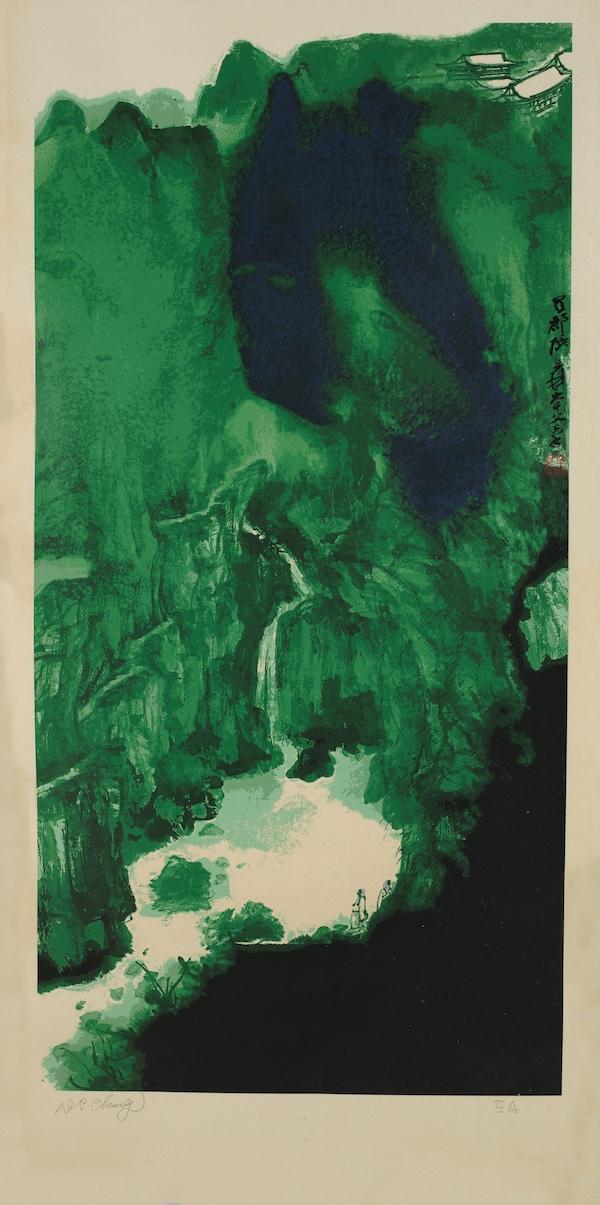 张大千,青城天下幽,丝网版画,EA.版,131.5cm×59.5cm.jpg