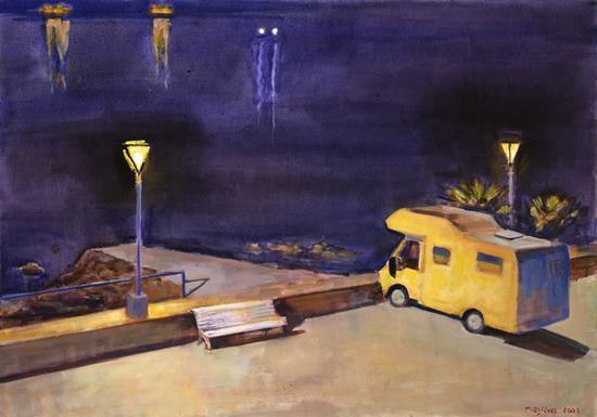 奥利维耶·德·马齐埃 《路灯》 布面坦培拉油画 64X93cm 2007年