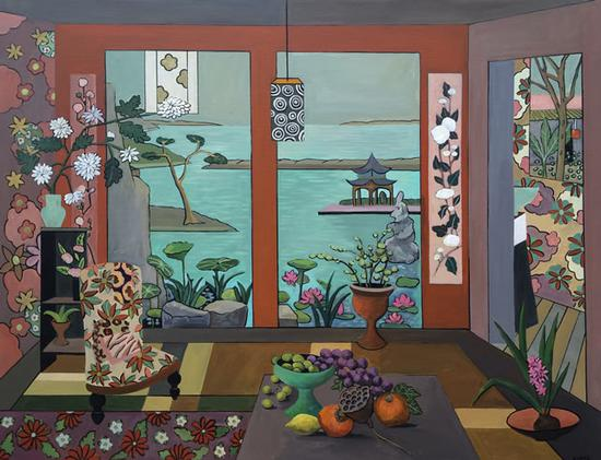 娜塔莉·米耶尔 《中国楼》 布面油画 116x89 cm
