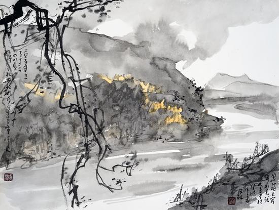 刘曦林 《广汉松林镇水库》 中国画 33×43.4cm 2015年