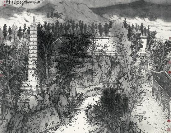 张谷旻 《西泠秋意图》 纸本水墨 146×185cm 2012年
