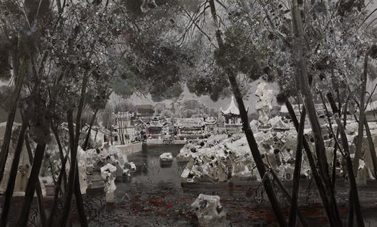 朱沙 《园静鱼喧》 布面油画 120×200cm 2017年