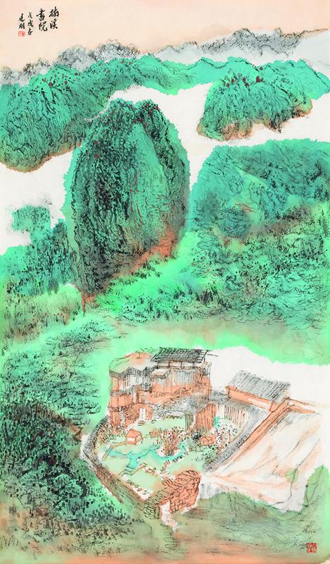 周建朋 《楠溪书院》纸本设色 100×62cm 2018年