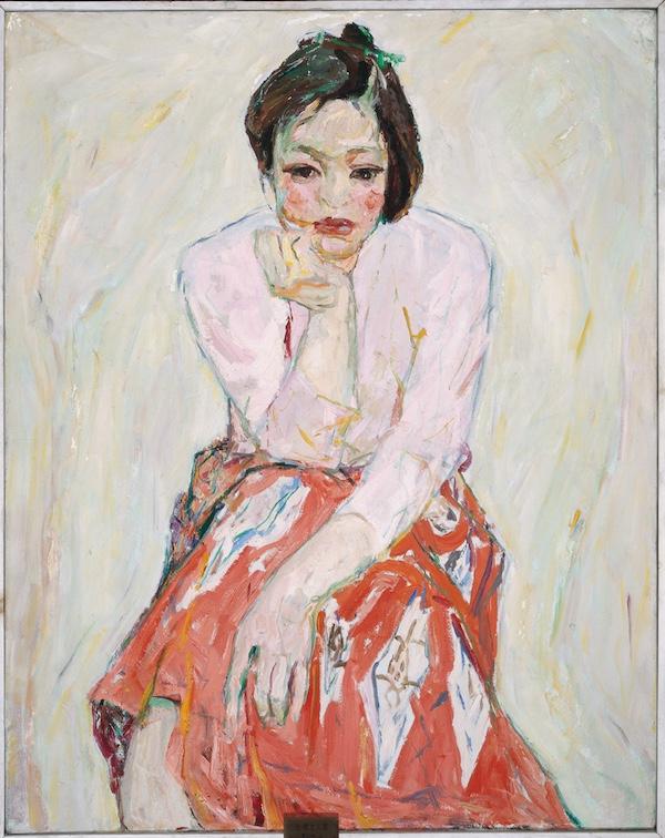 红裙女人像 罗尔纯 93×73cm 布面油画 1980 中央美术学院美术馆藏.jpg