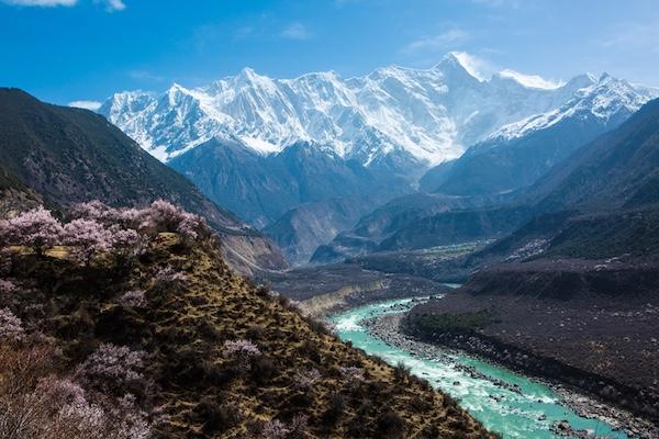《南迦巴瓦峰的春天》  清澈的雅鲁藏布江蜿蜒流过,两岸桃花恣意盛开,映照着南迦巴瓦峰少女般的白皙面庞。2018年4月7日拍摄于西藏索松村。李浩摄.jpg