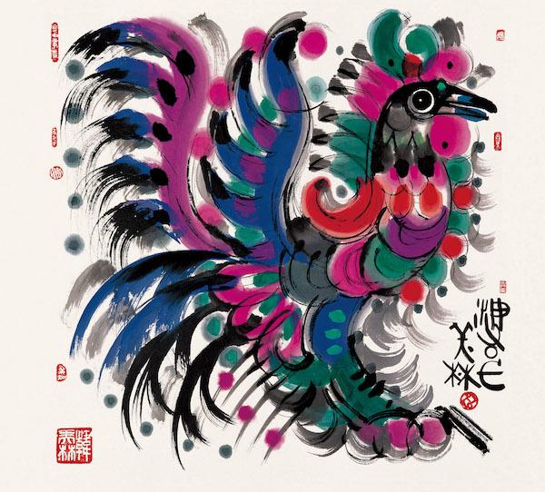 绘画:《鸡》,70x70cm,宣纸,2004年.jpg