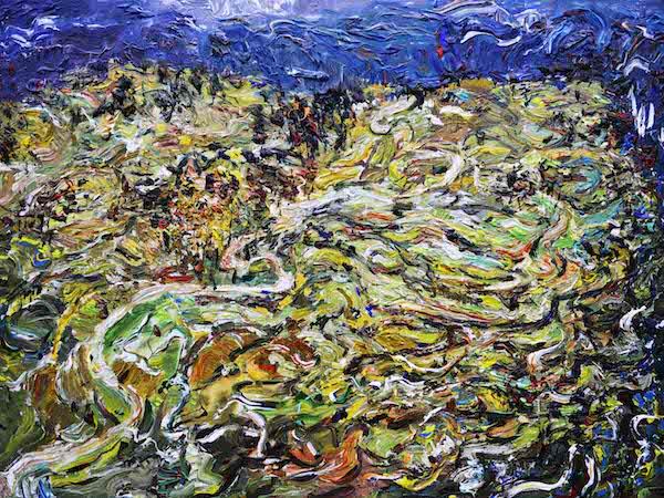 5.《苗乡梯田的冬季》Winter of the Miao Terranced Fields 2013年12月150cmX200cm  布面丙烯 Acrylic on canvas(参加法国2014年第107届巴黎秋季艺术沙龙展).jpg