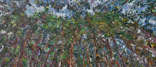 16.《松针天缝图》Pine Needles Sky Sewing Map 2018年8月200cmX450cm布面丙烯(三联画)Acrylic on canvas.jpg