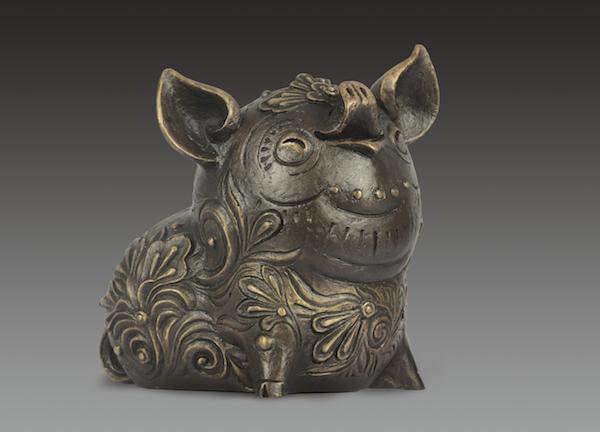 雕塑:《猪》,22x18x25cm,青铜,2018年.jpg