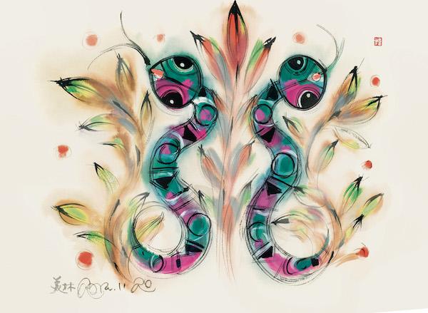 绘画:《蛇》,54x39cm,宣纸,2005年.jpg